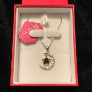 Swarovski crystal - Star and moon necklace - NWT
